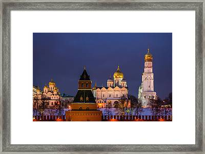 Kremlin Cathedrals At Night - Featured 3 Framed Print by Alexander Senin