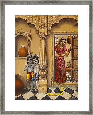 Krishna And Ballaram Butter Thiefs Framed Print by Vrindavan Das