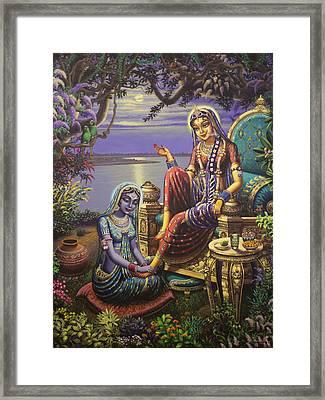 Krishna Disguised As Gopi Framed Print by Vrindavan Das