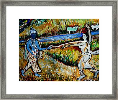Framed Print featuring the painting Krishna In   Madhura  by Anand Swaroop Manchiraju