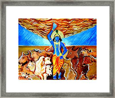Framed Print featuring the painting Krishna Lifting Govardhan Hill by Anand Swaroop Manchiraju