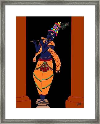 Krishna Playing Flute Framed Print