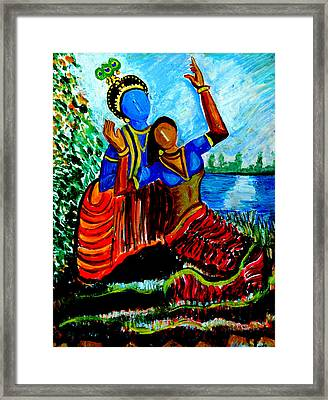 Framed Print featuring the painting Krishna  Playing With Radha by Anand Swaroop Manchiraju