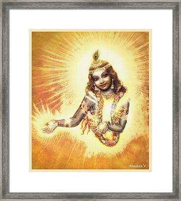 Krishna Vision In The Clouds Framed Print