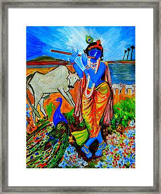 Framed Print featuring the painting Krishna With Cow by Anand Swaroop Manchiraju