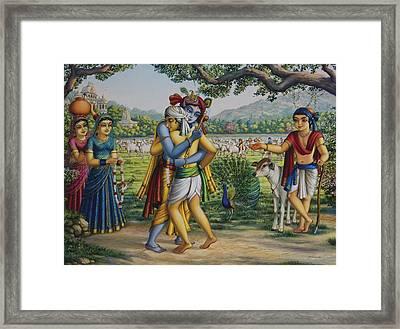 Krishna With His Dear Friend  Framed Print