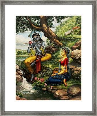 Krishna With Radha Framed Print by Vrindavan Das