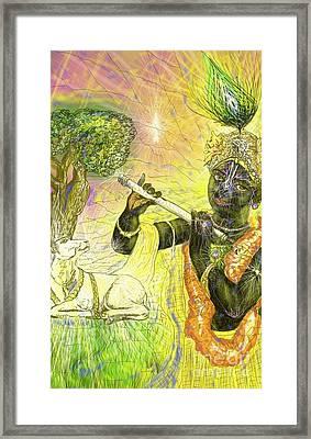 Krishna With Spiritual Illumination Framed Print