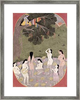 Krishna With The Cow Girls Clothes, Tehri-garhwal, C.1820-30 Wc On Paper Framed Print