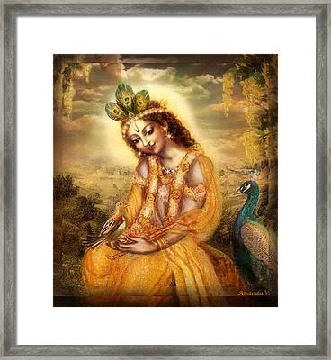 Krishna With The Peacock Detail Framed Print by Ananda Vdovic