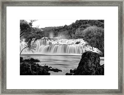 Krka Waterfalls Bw Framed Print