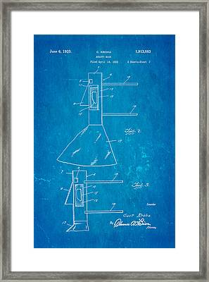 Kroha Beauty Mask Patent Art 1933 Blueprint Framed Print by Ian Monk