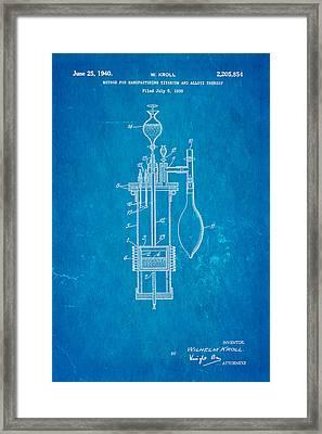 Kroll Titanium Manufacture Patent Art 1940 Blueprint Framed Print by Ian Monk