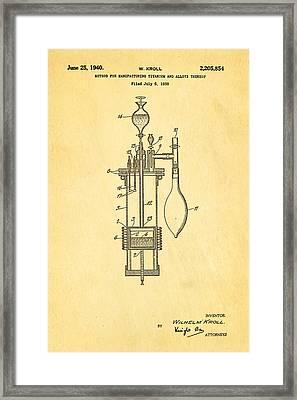 Kroll Titanium Manufacture Patent Art 1940 Framed Print by Ian Monk