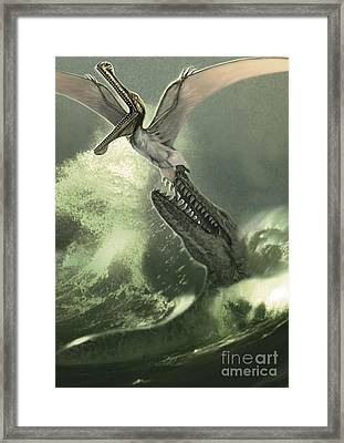 Kronosaurus Jumping Out Of The Water Framed Print by Jan Sovak