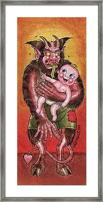 Krumpus And Baby New Year Framed Print by David Shumate