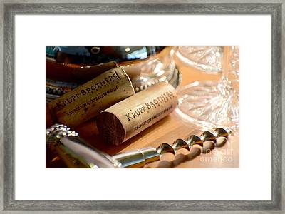 Krupp Brothers Uncorked Framed Print by Jon Neidert