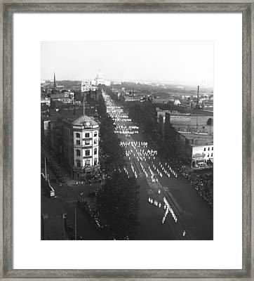 Ku Klux Klan Parade Framed Print by Underwood Archives