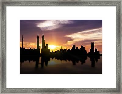 Kuala Lumpur Sunset Skyline  Framed Print by Aged Pixel