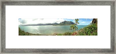 Kualua Kauai Panoramic Framed Print by Tropigallery -
