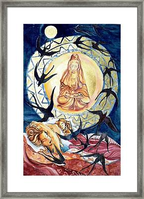Kuan Yin  Born From A Ray Of Light  Framed Print by Trudi Doyle