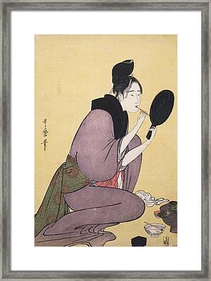 Kuchi-beni = Painting The Lips, Kitagawa Framed Print by Artokoloro