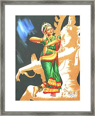 Framed Print featuring the painting Kuchipudi- The Dance Of The Gods by Ragunath Venkatraman
