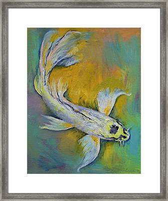 Kujaku Butterfly Koi Framed Print by Michael Creese