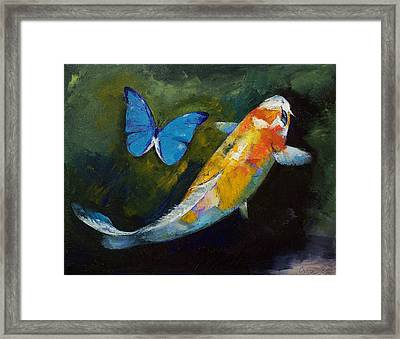 Kujaku Koi And Butterfly Framed Print by Michael Creese