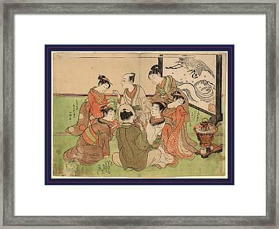 Kujibiki, Drawing Lots For Pairing. 1772 Or 1773 Framed Print by Koryusai, Isoda (1735-90), Japanese