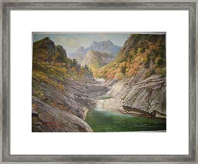 Kumgang Mountain Blue Lake Framed Print by Lee Young Gi