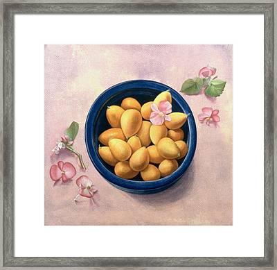 Kumquats And Blossoms Framed Print