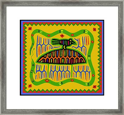 Kuna Bird With Snake Framed Print by Vagabond Folk Art - Virginia Vivier