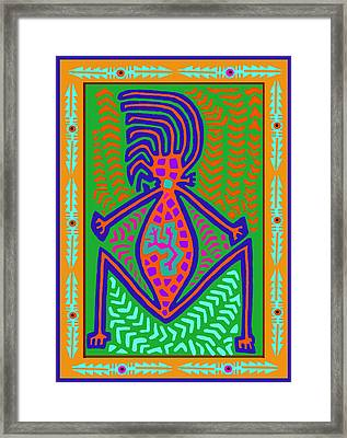 Kuna Indian Mother Earth Framed Print by Vagabond Folk Art - Virginia Vivier