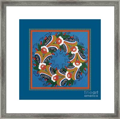 Kurbits Wreath Blue Framed Print by Leif Sodergren