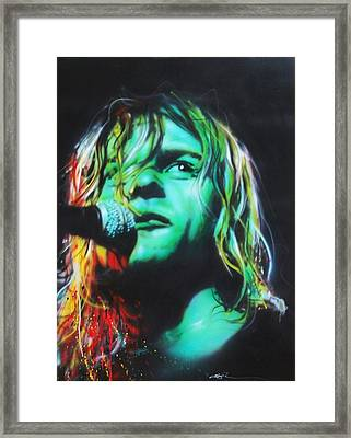 Kurt Cobain - ' Kurdt Kobain ' Framed Print by Christian Chapman Art