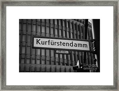 Kurfurstendamm Street Sign Berlin Germany Framed Print by Joe Fox