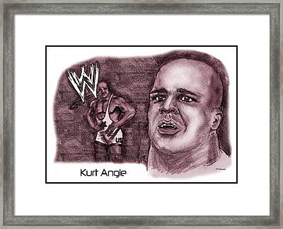 Framed Print featuring the mixed media Kurt Angle by Chris  DelVecchio