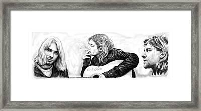 Kurt Bobain Art Long Drawing Sketch Poster Framed Print