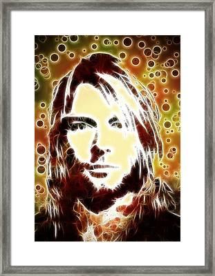Kurt Cobain Digital Painting Framed Print