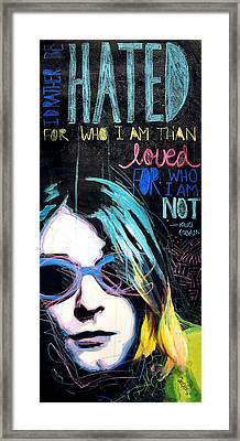 Kurt Cobain Framed Print by Erica Falke