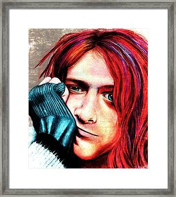 Kurt Cobain - Grungy Version Framed Print by Shawna Rowe