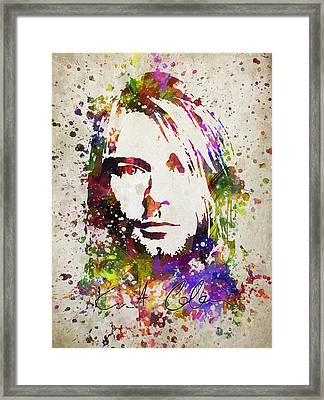 Kurt Cobain In Color Framed Print by Aged Pixel