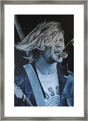 Kurt Cobain Live Framed Print by David Dunne