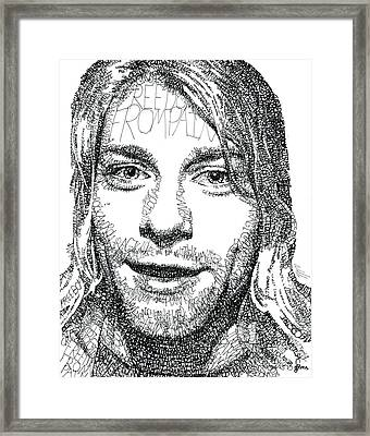 Kurt Cobain Framed Print by Michael Volpicelli