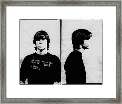 Kurt Cobain Mugshot Framed Print by Bill Cannon