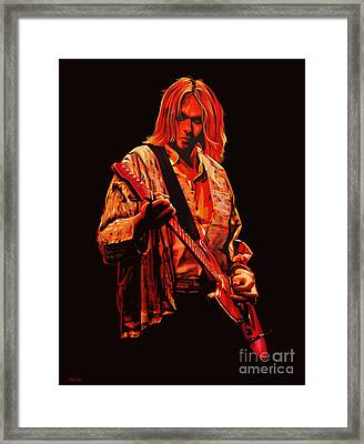 Kurt Cobain Painting Framed Print by Paul Meijering