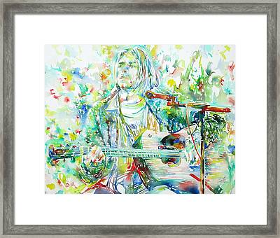 Kurt Cobain Playing The Guitar - Watercolor Portrait Framed Print