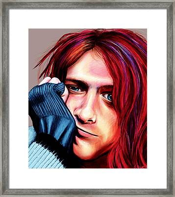 Framed Print featuring the painting Kurt Cobain by Shawna Rowe