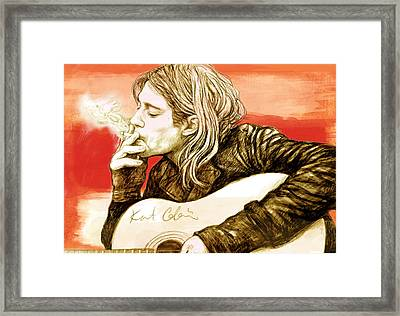Kurt Cobain - Stylised Drawing Art Poster Framed Print by Kim Wang